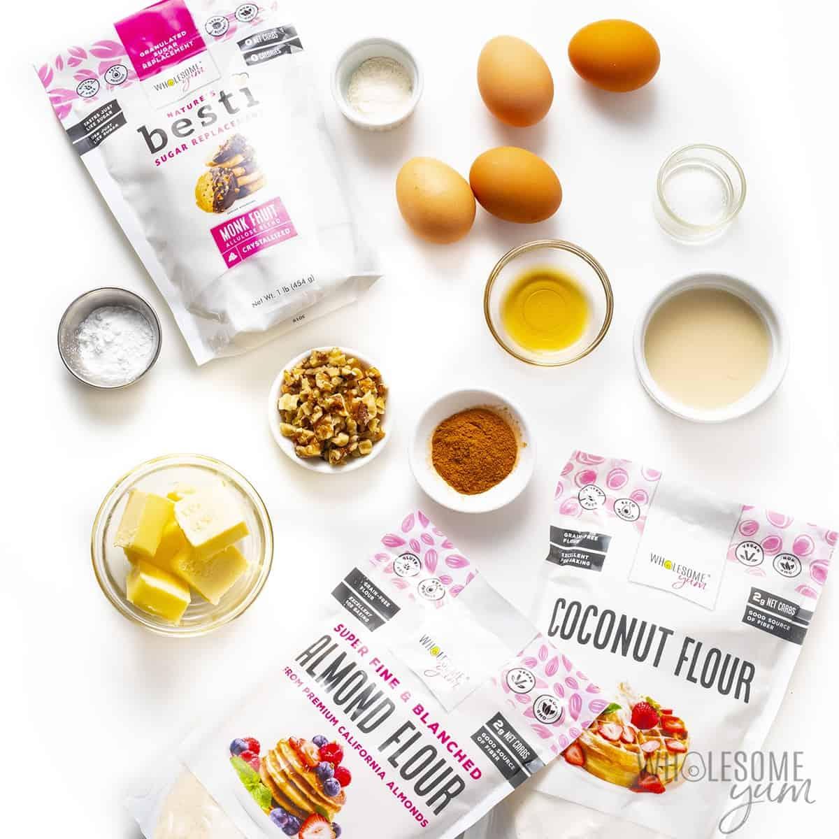 Ingredients to make keto banana bread recipe