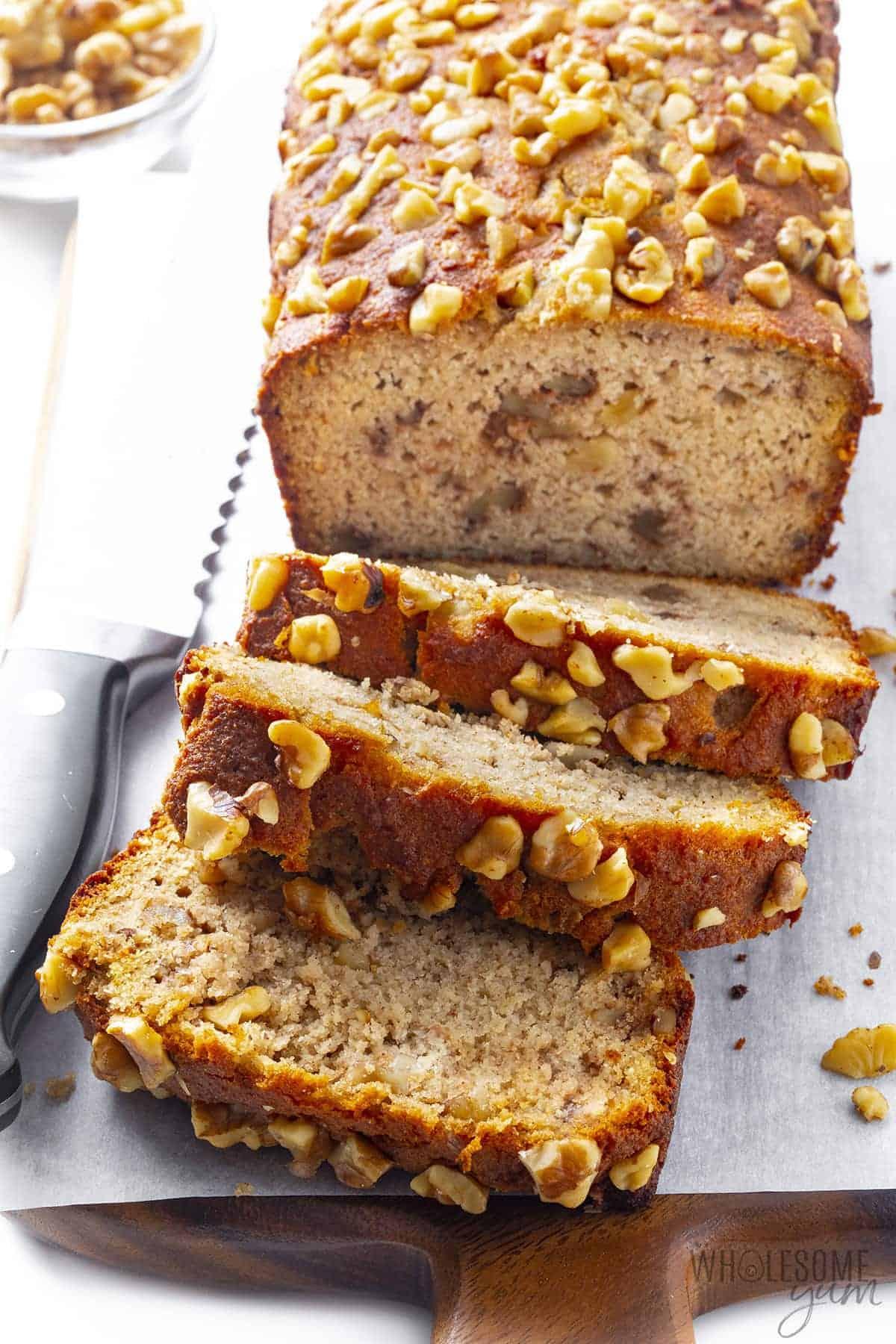 Loaf of sugar free banana bread on a cutting board