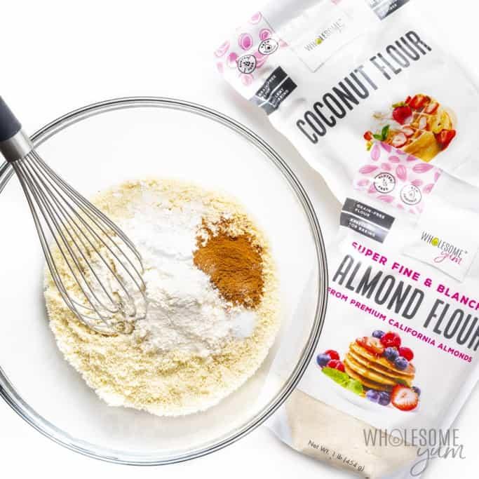 Dry ingredients for keto banana bread