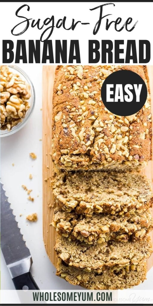 This low carb banana bread recipe with almond flour & coconut flour is perfectly moist & rich. Naturally paleo, gluten-free, sugar-free, and healthy.