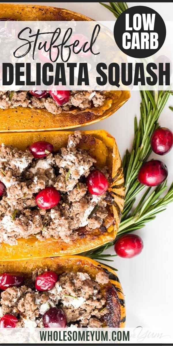 Stuffed Delicata Squash with Beef & Cranberries (Low Carb, Gluten-free) - This naturally gluten-free stuffed delicata squash recipe is packed with rosemary infused ground beef, plump fresh cranberries, and creamy goat cheese.