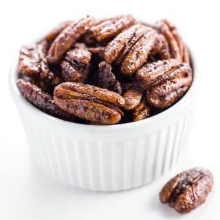 How To Make Sugar-free Candied Pecans (Low Carb, Gluten-free) - Learn how to make candied pecans in a slow cooker - it's easy! This sugar-free candied pecans recipe needs just 5 ingredients & a few minutes of prep time.