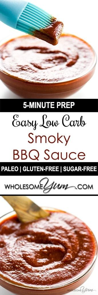 This sugar-free, gluten-free, low carb BBQ sauce recipe is sweet, smoky, spicy & tangy in one. Super easy too, with only 5 minutes prep time!