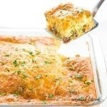 Low Carb Breakfast Casserole Recipe with Sausage & Cheese (Gluten-free) - A gluten-free low carb breakfast casserole recipe with sausage and cheese - just 6 ingredients! This keto sausage, egg and cheese casserole without bread is easy to customize with vegetables, too.