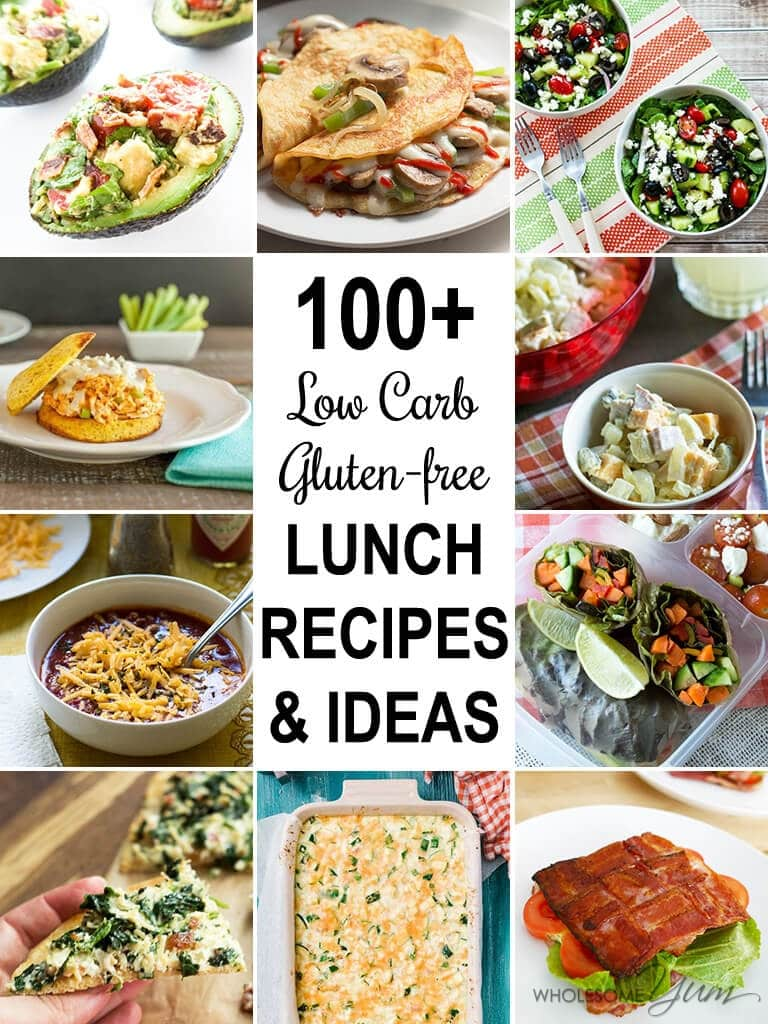 100+ Low Carb Lunch Ideas & Recipes (Roundup) - This huge collection of 100+ gluten-free, low carb lunch recipes has all the ideas you could want for easy low carb lunches.