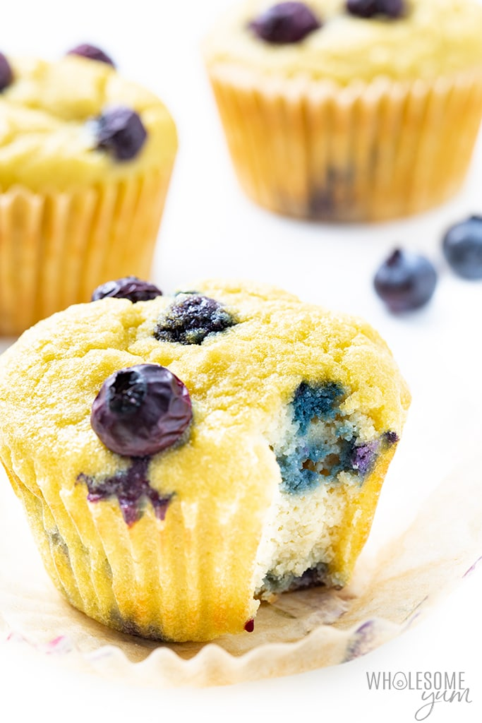 Inside of a coconut flour muffin with blueberries