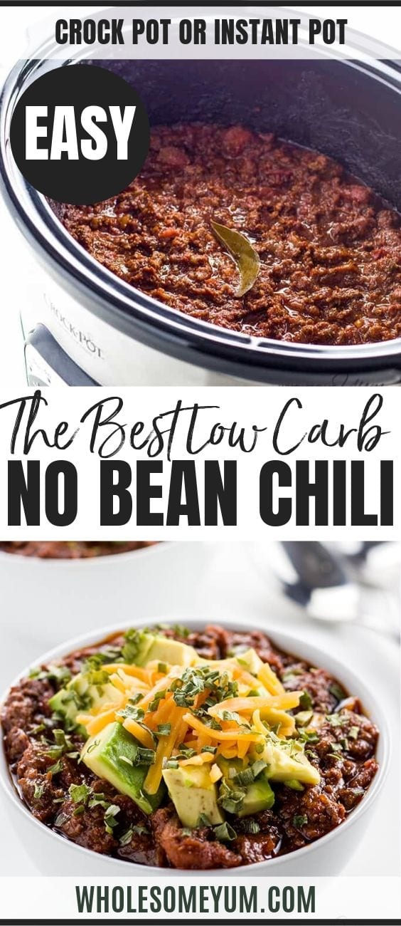 Keto Low Carb Chili - Pinterest image