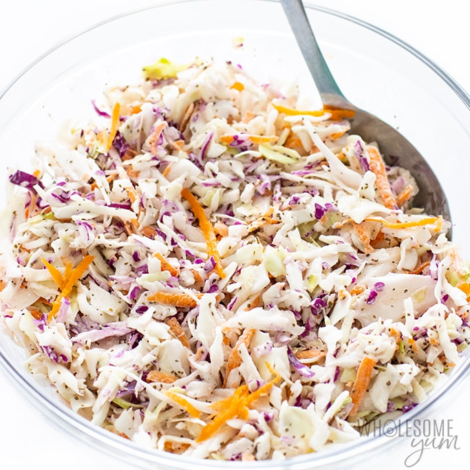 keto slaw mixed together in a bowl