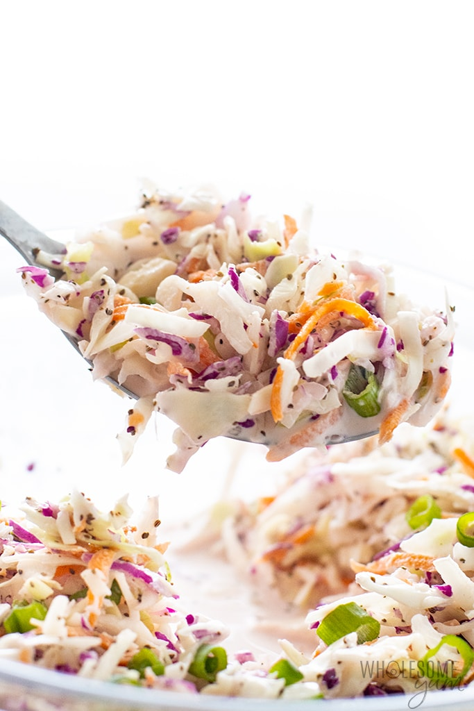 scoop of sugar-free coleslaw