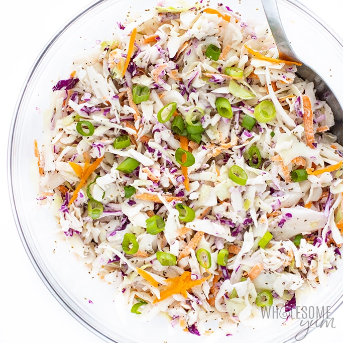 keto coleslaw recipe in glass bowl