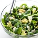 Baby Kale Avocado Salad with Lemon Garlic Vinaigrette & Parmesan (Low Carb, Gluten-free) - Learn how to make massaged baby kale salad! This easy kale avocado salad recipe with lemon garlic vinaigrette and parmesan will change how you look at kale.