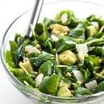 Baby Kale Avocado Salad with Lemon Garlic Vinaigrette & Parmesan (Low Carb, Gluten-free)