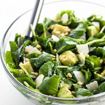 Baby Kale Avocado Salad with Lemon Garlic Vinaigrette & Parmesan (Low Carb, Gluten-free) - Learn how to make massaged baby kale salad! This easy kale avocado salad recipe with lemon garlic vinaigrette and parmesan will change how you look at kale. Detail: baby-kale-avocado-salad-with-lemon-garlic-vinaigrette-and-parmesan-1