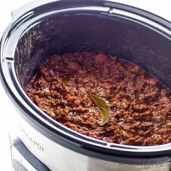 An easy low carb chili recipe in a Crock Pot slow cooker or Instant Pot pressure cooker! Made with just 10 ingredients. Healthy, paleo & gluten-free. Detail: low-carb-chili-in-crock-pot-or-instant-pot-paleo-gluten-free-1