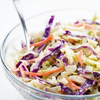 Paleo Low Carb Coleslaw (Sugar-free, Gluten-free) - 5 Ingredients - This sugar-free, paleo, low carb coleslaw recipe needs just 5 ingredients. Creamy, delicious, and you can make it in 5 minutes.