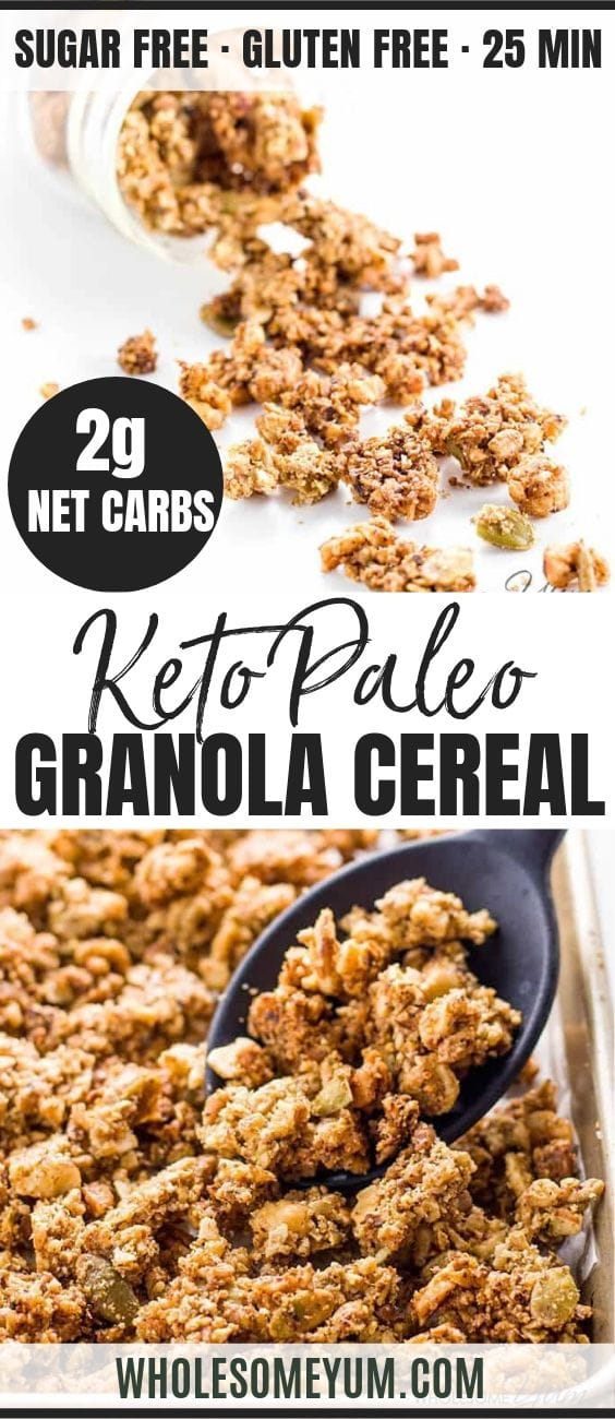 Keto Paleo Low Carb Granola - Pinterest image