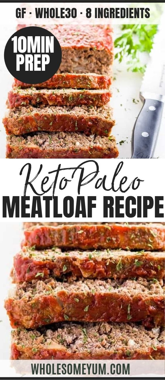 Paleo Keto Low Carb Meatloaf - Pinterest image