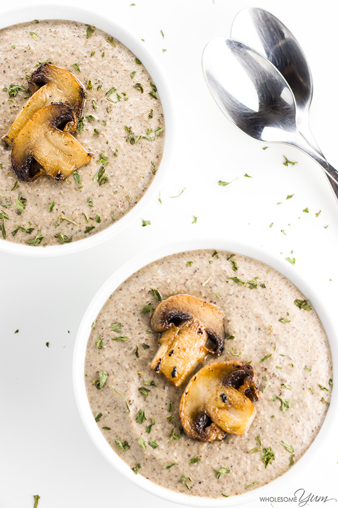 This low carb, gluten-free cream of mushroom soup is made with only 7 ingredients. Thick, creamy, and delicious! Eat it on its own or use it in recipes. There's also a paleo option.