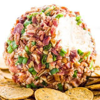 Easy Cheese Ball Recipe with Cream Cheese, Bacon & Green Onion (Low Carb, Gluten-free)