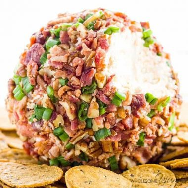 picture of easy cheese ball recipe with cream cheese with crackers