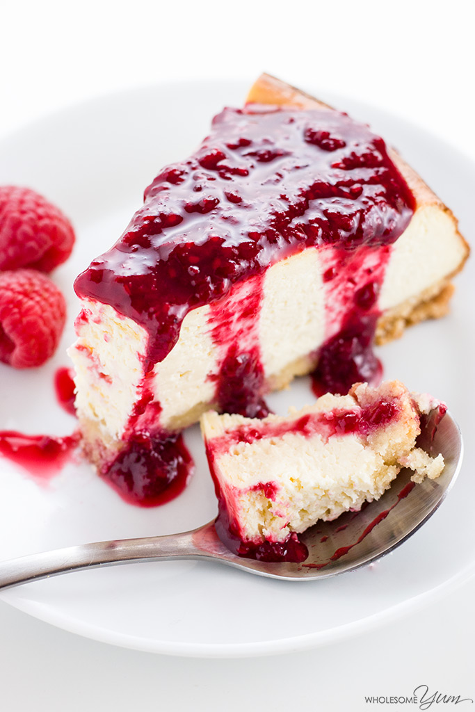 This gluten-free, sugar-free, keto low carb cheesecake recipe is easy to make with just 8 ingredients. So easy with just 10 minutes of prep time!