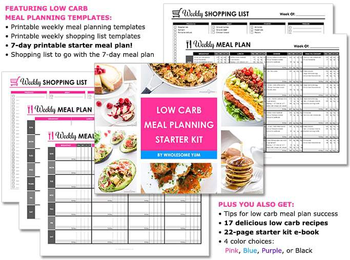 LOW CARB MEAL PLANNING STARTER KIT! FEATURING LOW CARB MEAL PLANNING TEMPLATES: • Printable weekly meal planning templates • Printable weekly shopping list templates • 7-day printable starter meal plan! • Shopping list to go with the 7-day meal plan PLUS YOU ALSO GET: • Tips for low carb meal plan success • 17 delicious low carb recipes • 22-page starter kit e-book • 4 color choices: Pink, Blue, Purple, or Black