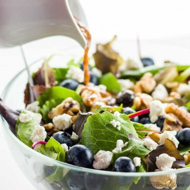 Spring Mix Salad Recipe with Blueberries, Goat Cheese and Walnuts
