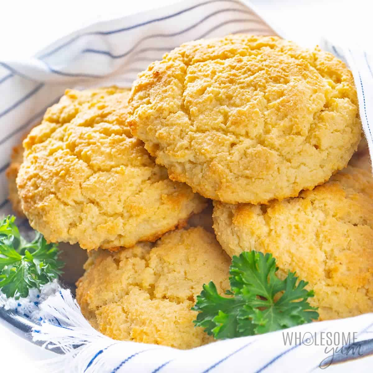 Keto almond flour biscuits in a bowl