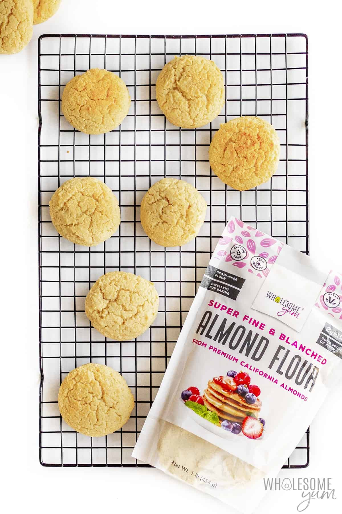 Keto biscuits with almond flour on cooling rack