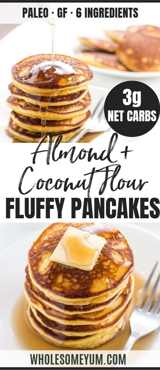 Keto Low Carb Pancakes with Almond Flour & Coconut Flour - Pinterest image