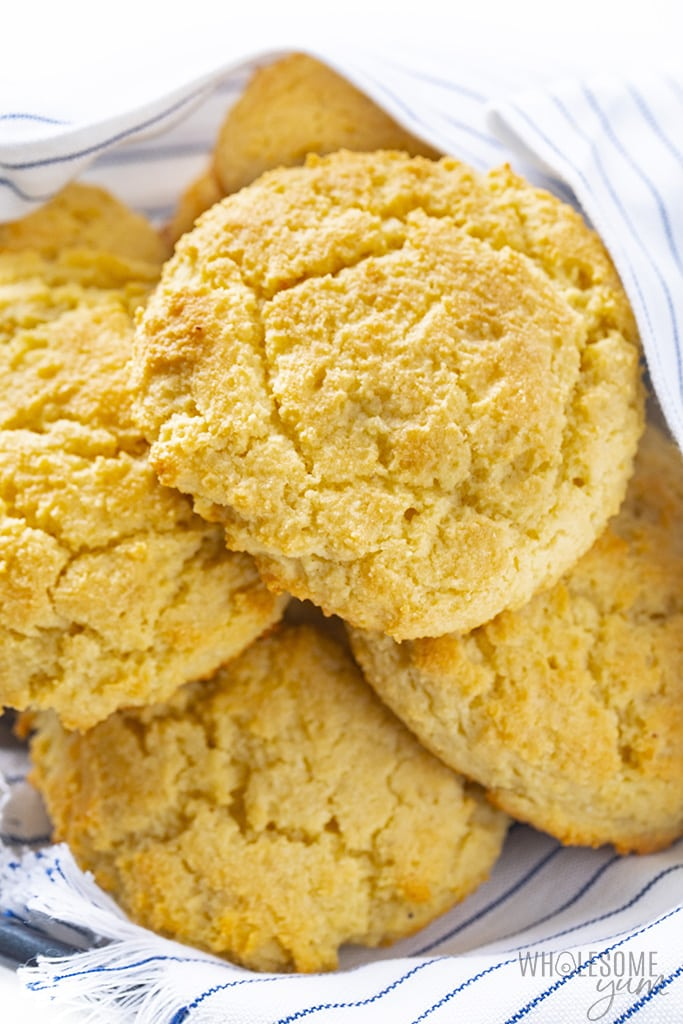 Low carb almond flour biscuits close up