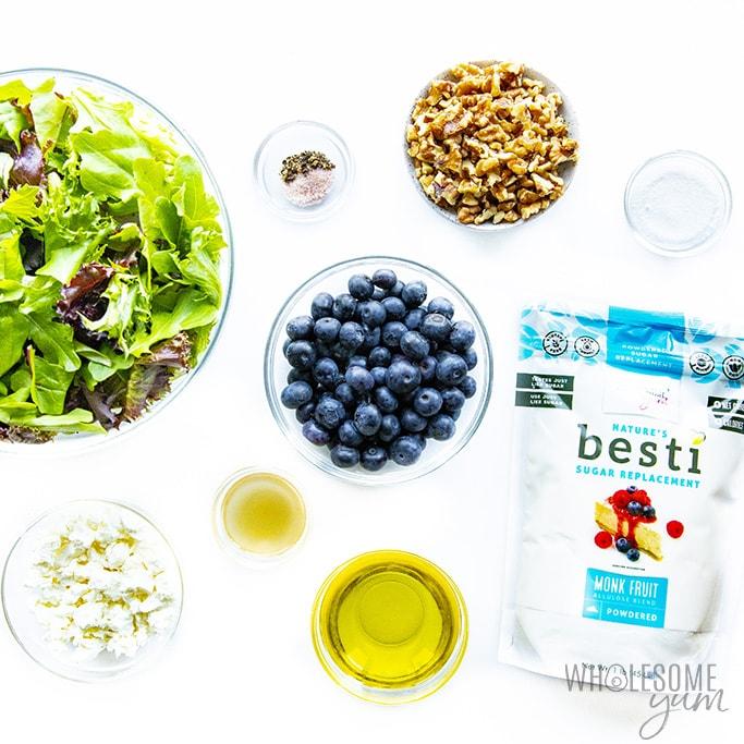 Ingredients to make spring mix salad recipe