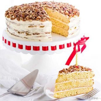 Vanilla Gluten-Free Keto Birthday Cake Recipe - Sugar Free - This gluten-free birthday cake is so rich and moist that no one will guess it's also a low carb keto cake recipe. It's easy to make with just 10 ingredients. Vanilla sugar-free cake is perfect for a birthday, or any day!