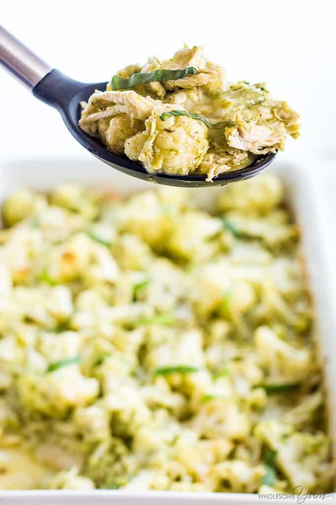 Pesto Chicken Bake with Cauliflower (Low Carb, Gluten-free)