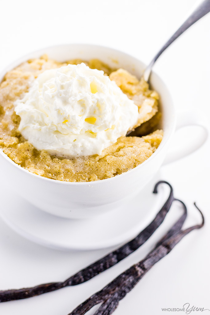 Easy Keto Paleo Vanilla Mug Cake Recipe - This easy vanilla mug cake recipe is ready in under 5 minutes! If you want a paleo mug cake that's simple, decadent, and delicious, give this keto vanilla mug cake a try.