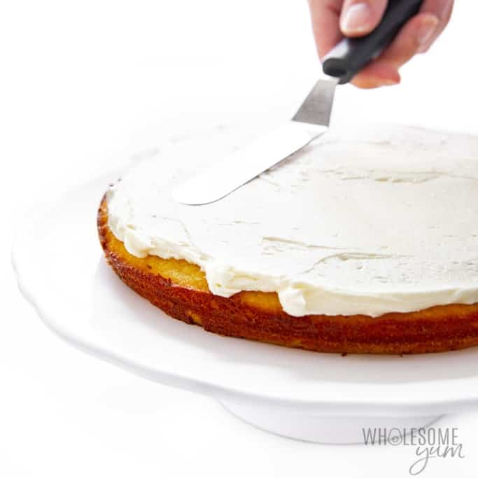 Frosting first layer of cake