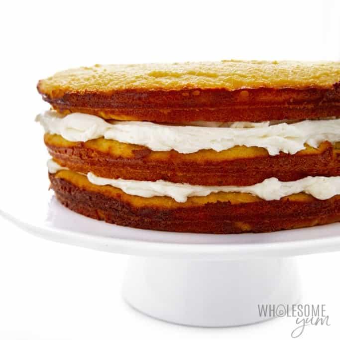 Three layers of keto vanilla cake