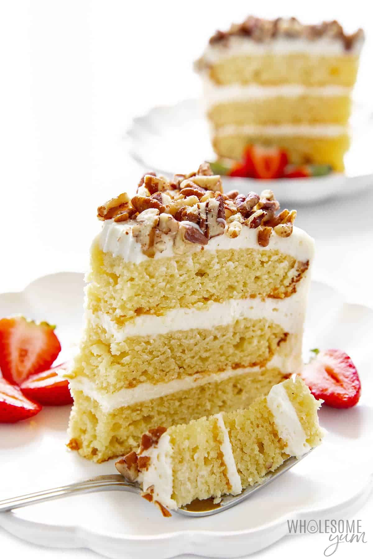 Slice of keto vanilla cake with fork
