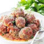 Easy Keto Low Carb Meatballs Recipe - Italian Style - If you're looking for an easy low carb meatballs recipe, Italian style, this is it! These keto meatballs take just 30 minutes to make, and are perfect for low carb dinners and appetizers alike. Detail: low-carb-meatballs-italian-style-keto-gluten-free-nut-free-2