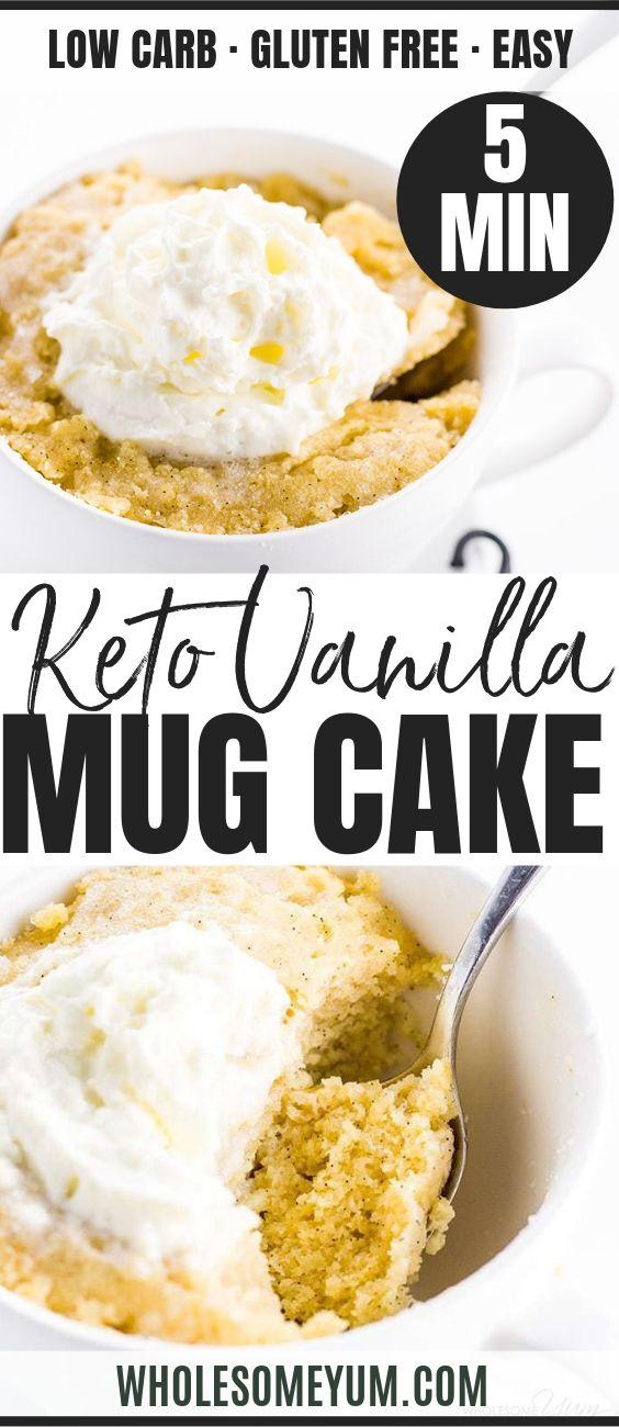 Easy Keto Paleo Vanilla Mug Cake - Pinterest image