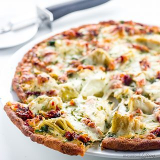 Artichoke Pizza with Spinach, Sun-Dried Tomatoes, & White Sauce (Low Carb, Gluten-free)