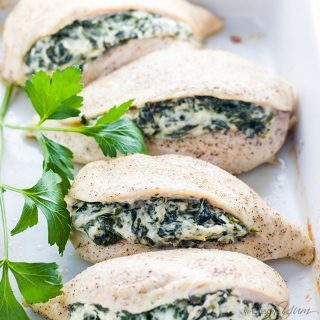 Spinach Stuffed Chicken Breast with Cheese (Low Carb, Gluten-free) - 6 Ingredients