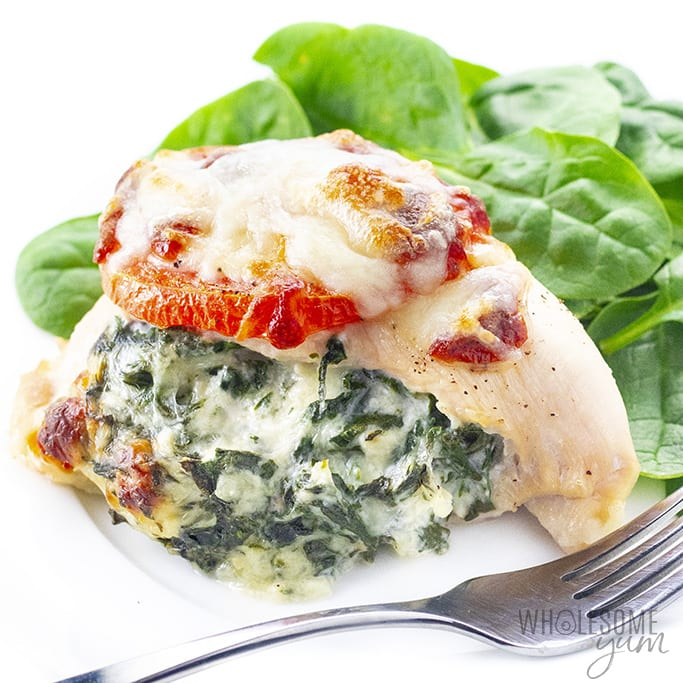 Chicken breast stuffed with spinach on a plate