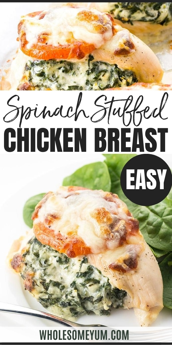 Easy Spinach Stuffed Chicken Breast Recipe with Cheese - 6 Ingredients Keto Low Carb Gluten Free