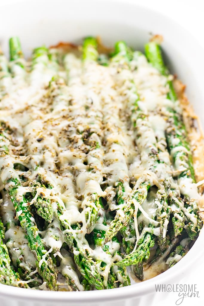 keto asparagus with cheese in baking dish
