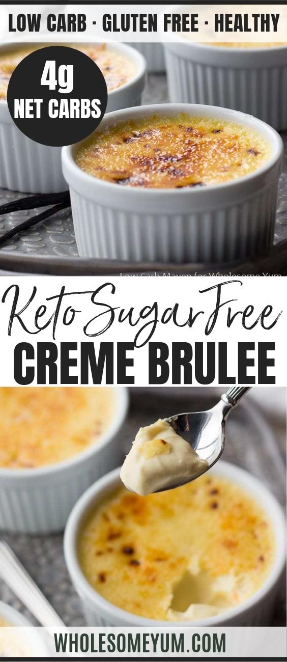 Keto Low Carb Creme Brulee - Pinterest image