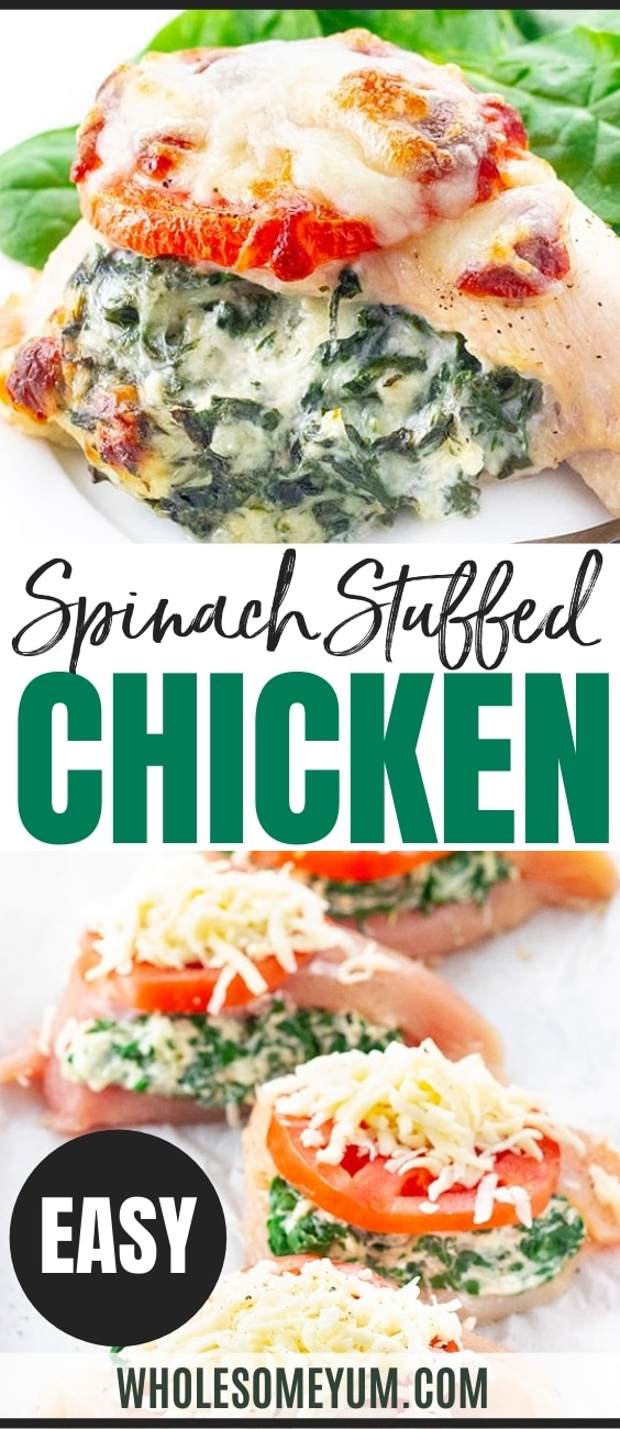 Spinach stuffed chicken breast recipe pin