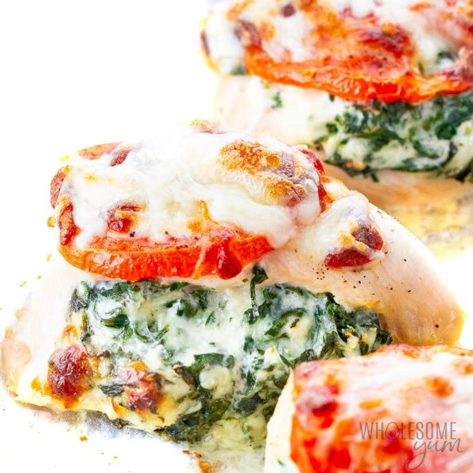 Spinach stuffed chicken recipe close-up