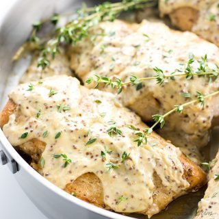 Pan Seared Chicken Breast with Mustard Cream Sauce (Low Carb, Gluten-free)