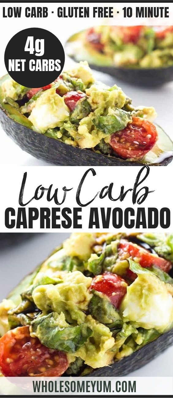 Caprese Stuffed Avocado Recipe (Low Carb, Gluten-free) - Pinterest Image